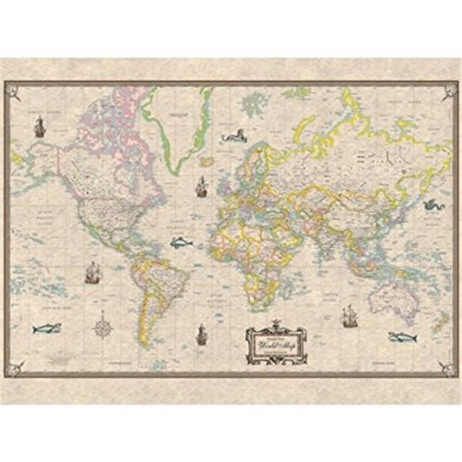 Universal Map Antique Style World Paper Rolled Map - Map of the world antique style