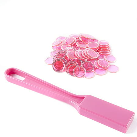 Magnetic Bingo Wand with 100 Bingo Chips - Pink