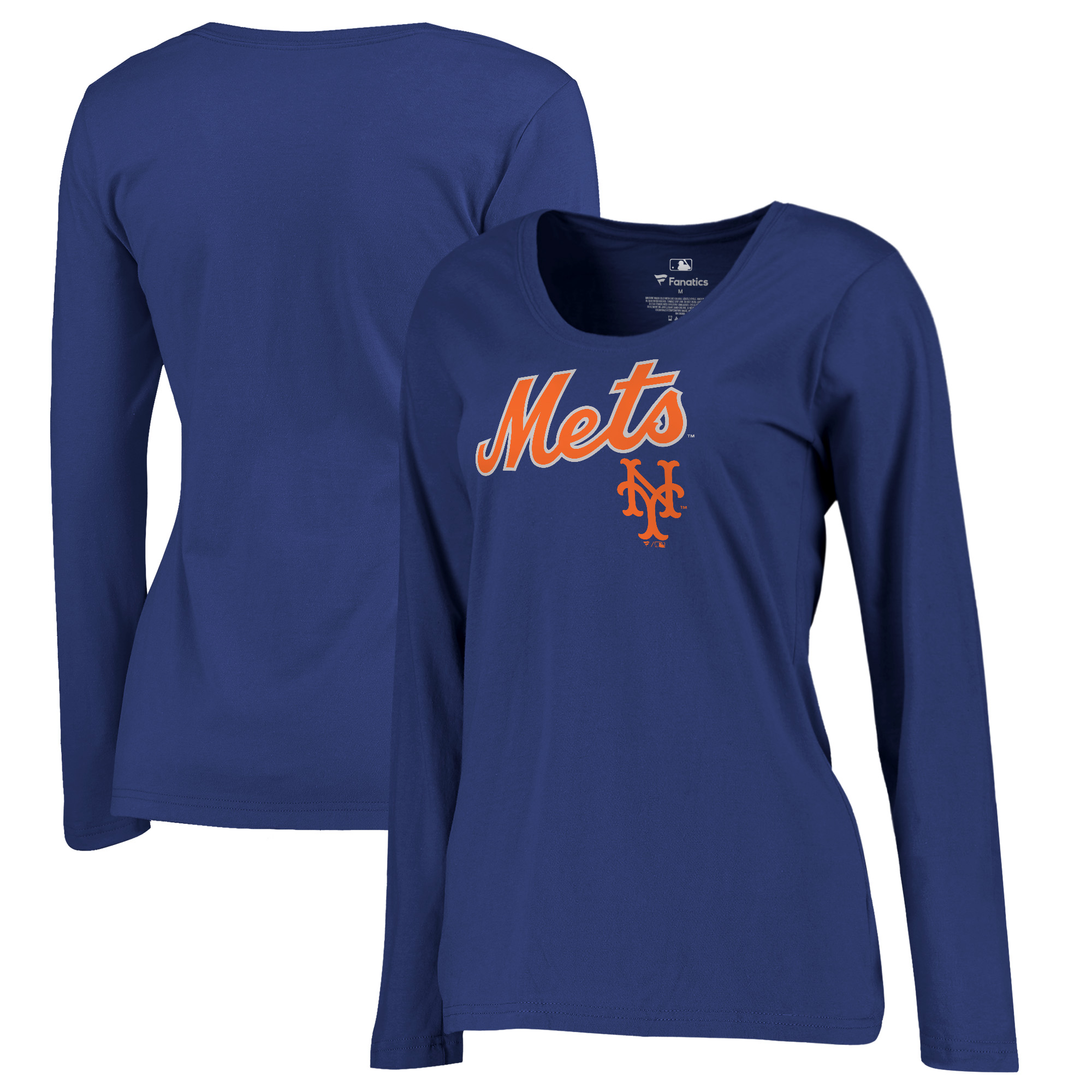 New York Mets Fanatics Branded Women's Plus Size Cooperstown Collection Wahconah Long Sleeve T-Shirt - Royal