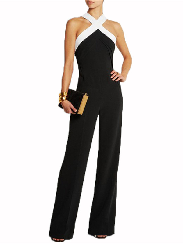 Women's Halter Sleeveless Long Casual Wide Leg Pants Jumpsuits