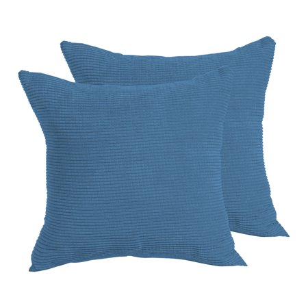 Square Throw Corduroy Cushion Cover Pillow Case 18 x 18 Inch Navy Blue Set of (Sky Blue Corduroy)