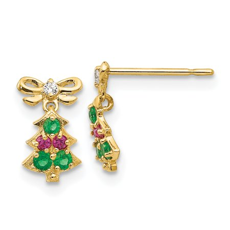 ICE CARATS 14kt Yellow Gold Cubic Zirconia Cz Childrens Christmas Tree Drop Dangle Chandelier Post Stud Earrings Holiday Fine Jewelry Ideal Gifts For Women Gift Set From Heart - Christmas Jewelry Ideas