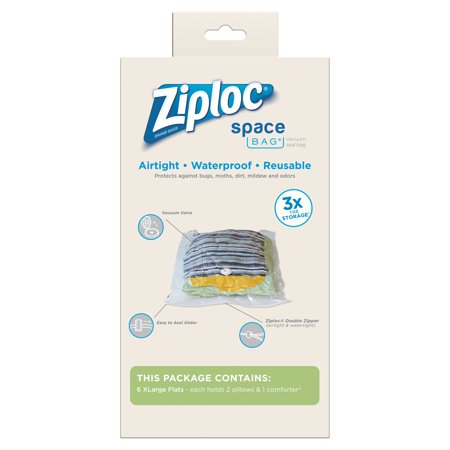 Ziploc Space Bag Extra Large Vacuum Seal Bags 6 Count