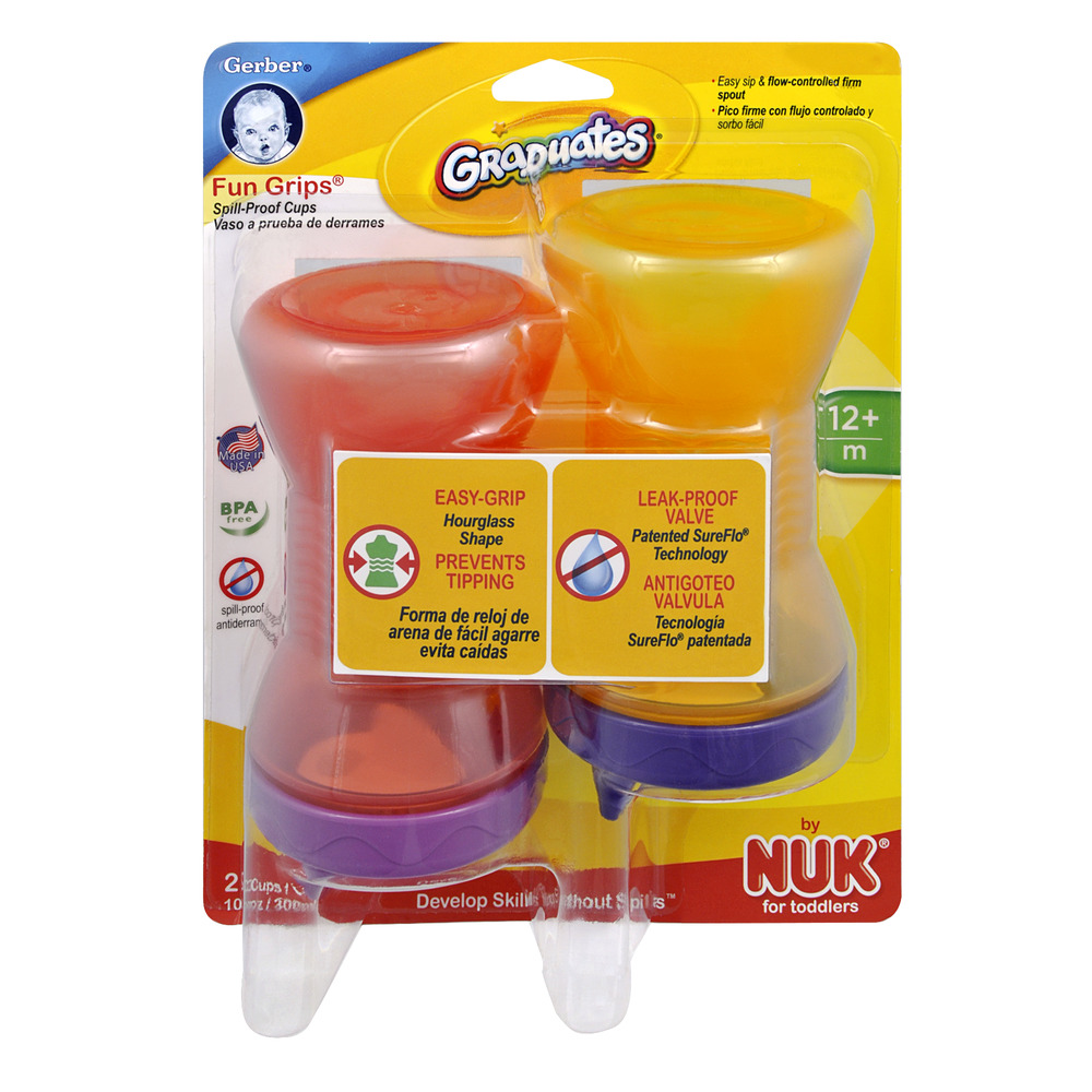 Gerber Graduates Fun Grips Spill-Proof Cups, 10.0 OZ