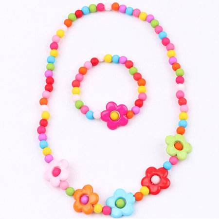 KABOER 2 Sets Toddler Costume Jewelry Princess Necklace Bracelet Kit Gift for Girls Dress Up Party Party Dress Charm