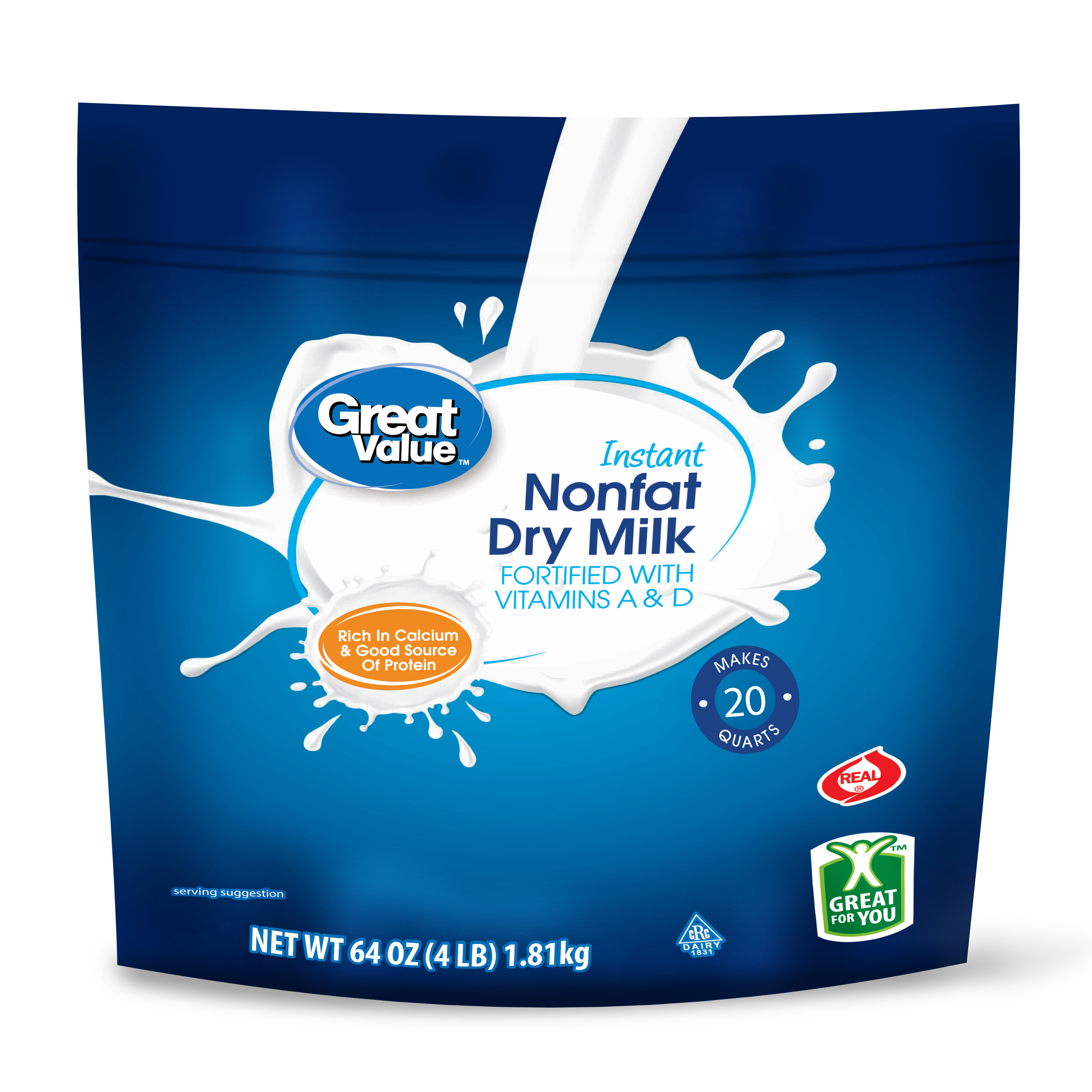 Great Value Nonfat Instant Dry Milk, 64 oz