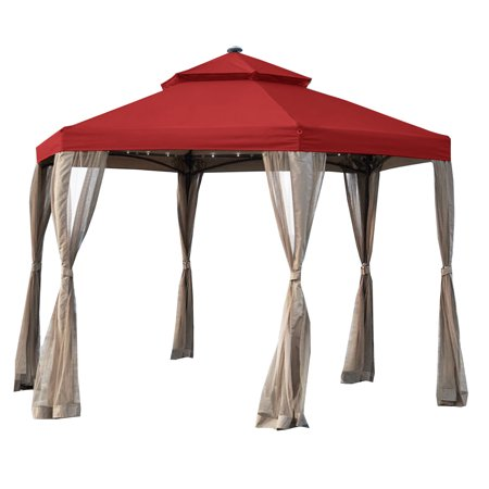 Garden Winds Replacement Canopy Top Cover for the Hexagon Solar Gazebo - Cinnabar