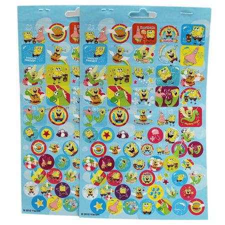 Spongebob Sticker Sheet (Spongebob Squarepants Light Blue Background Assorted Stickers (2 Sheets))