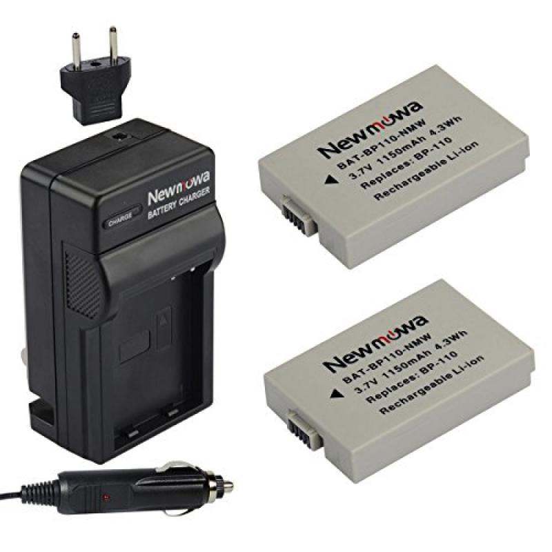 Newmowa BP-110 Battery (2-Pack) and Charger kit for Canon...