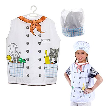 Dazzling Toys Kids Pretend Play Chef Costume Set Vest and Hat](Costume Chef Hat)