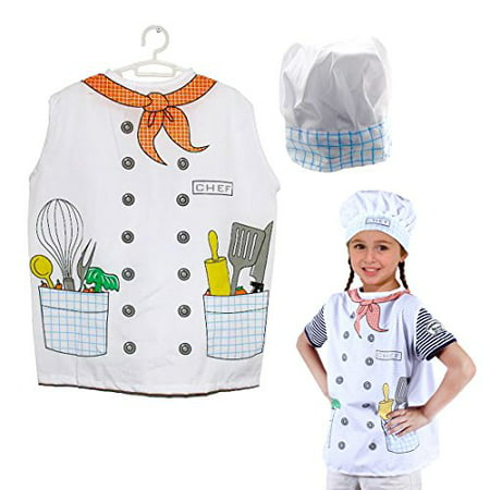 Dazzling Toys Kids Pretend Play Chef Costume Set Vest and Hat](Chef Costume For Kids)