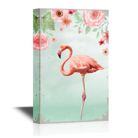 wall26 - Canvas Wall Art - Pink Flamingo Standing with One Leg in Water with Flowers - Gallery Wrap Modern Home Decor | Ready to Hang - 32x48 inches