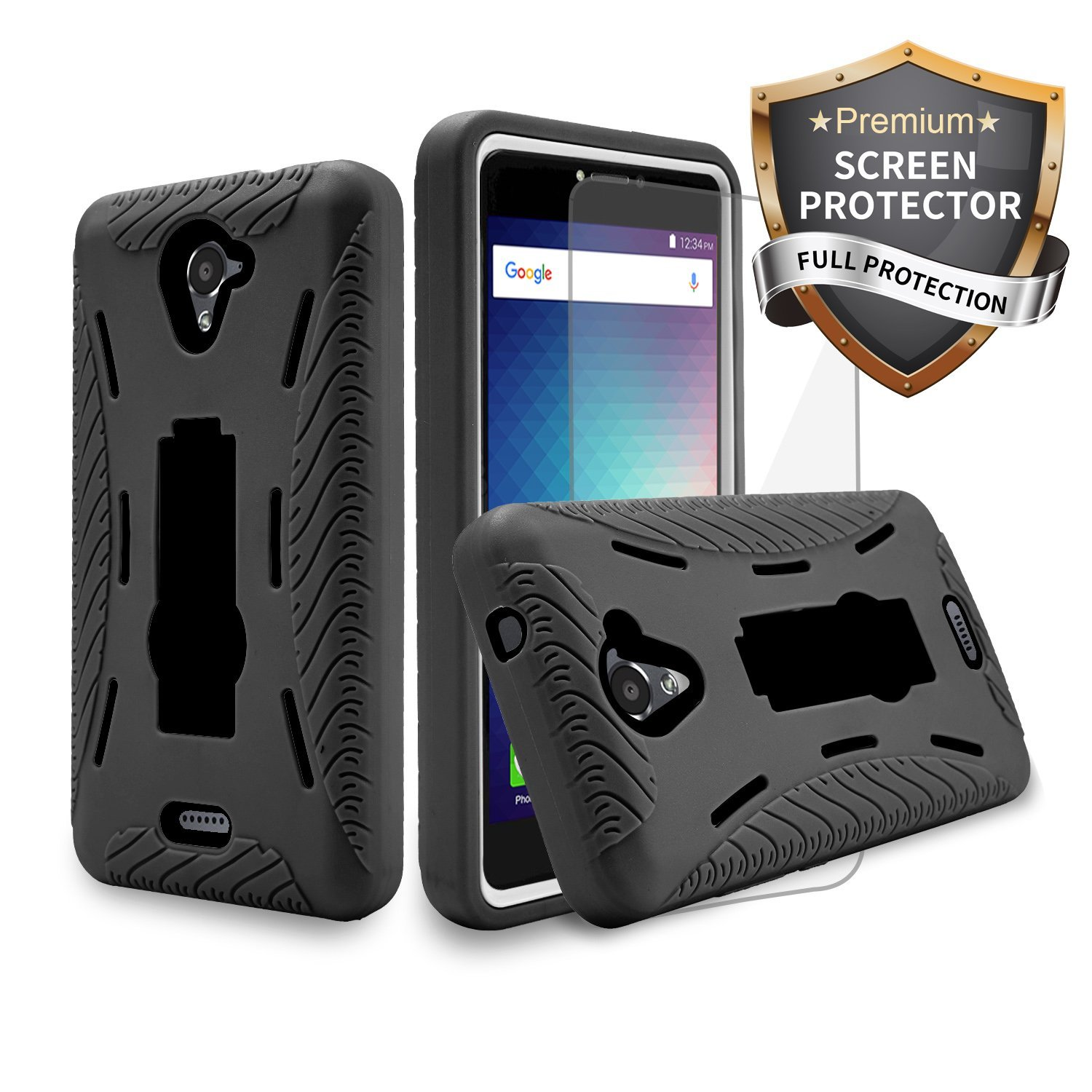 lowest price 2d2a3 b8523 BLU Studio XL 2 S0270UU/ Studio Mega/ Advance A6 Cellphone Case Heavy Duty  Rugged Hard Cover Hybrid Kickstand Case With Clear Screen Protector Film ...