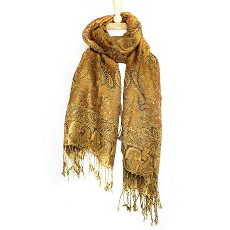 Paskmlna® Reversible Paisley Pashmina Shawl Wrap Elegant Colors #07 (Reversible Paisley Pashmina Shawl)