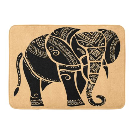 GODPOK Traditional Black Tribal Elephant Silhouette of Henna Abstract Rug Doormat Bath Mat 23.6x15.7 inch