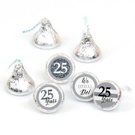 We Still Do - 25th Anniversary - Round Candy Stickers -  Labels Fit Hershey's Kisses (1 sheet of 108) (25th Anniversary Favors)