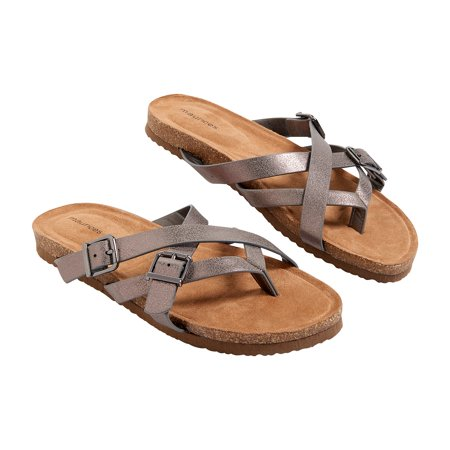 Maurices Women's Cross Strap Sandal - Adele Molded Footbed