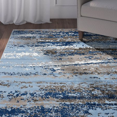 LR Home Infinity Blue Beige White Cream Brown Gray Suzani Abstract Distressed Indoor Modern Contemporary Area Rug - 7 ft. 9 in. x 9 ft. 5 (Cream Brown Area Rug)