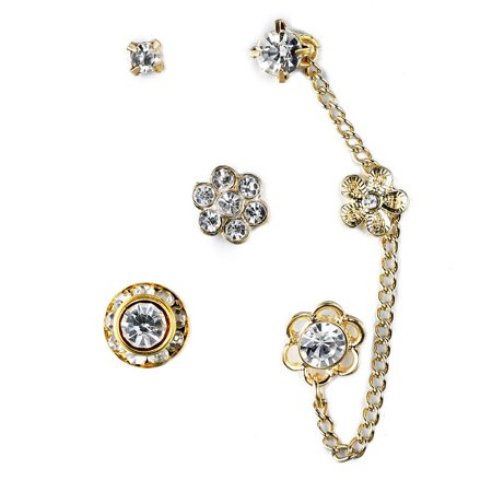 Gold Tone Flower Chain Link, Crystal Stud, Rhinestone Cluster - Assorted Stud Earrings (6 Piece) Set, By JADA Collections