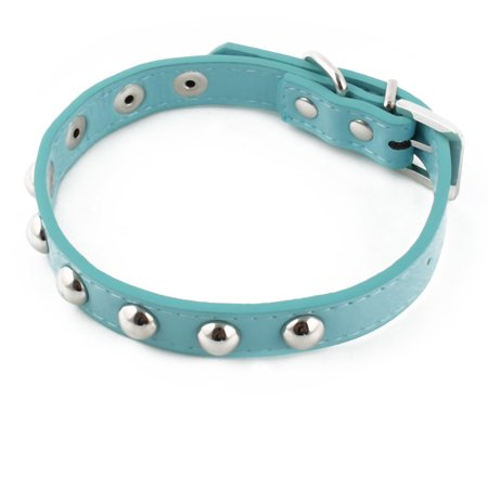 Pet Dog PU Leather Round Studded Decor Necklace Adjustable Belt Buckle Collar M - image 5 de 5