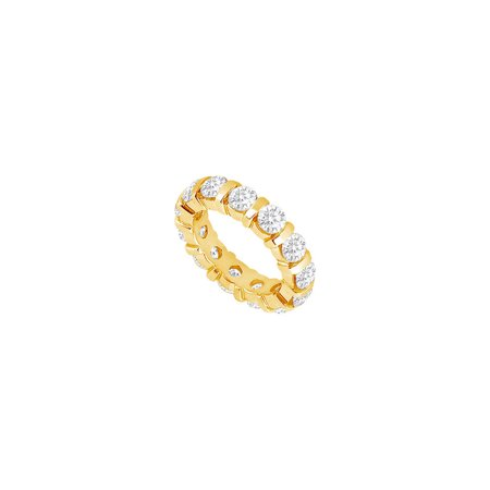 Eternity Band Five Carat Brilliant Cut AAA CZ Wedding Bands Bar Set on 18K Yellow Gold Vermeil - image 2 of 2