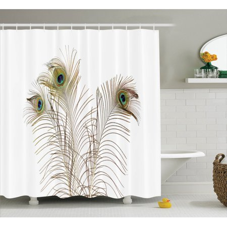 peacock decor shower curtain set peacock feathers closeup
