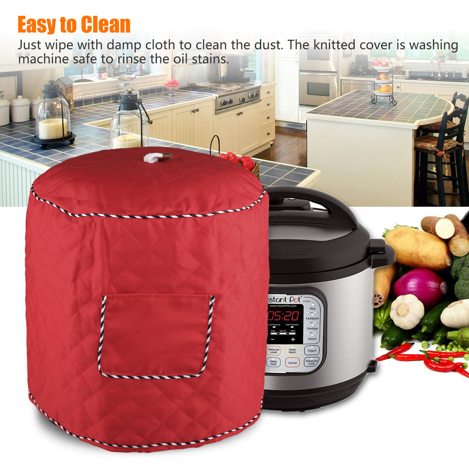 Anti Static Dust Cover with Interior Lining /& Side Pocket Decorative Cover for Electric Pressure Cookers Has Pocket 6Qt,Red