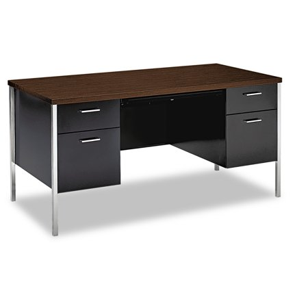 Hon Double Pedestal Desk Columbian Walnut Black