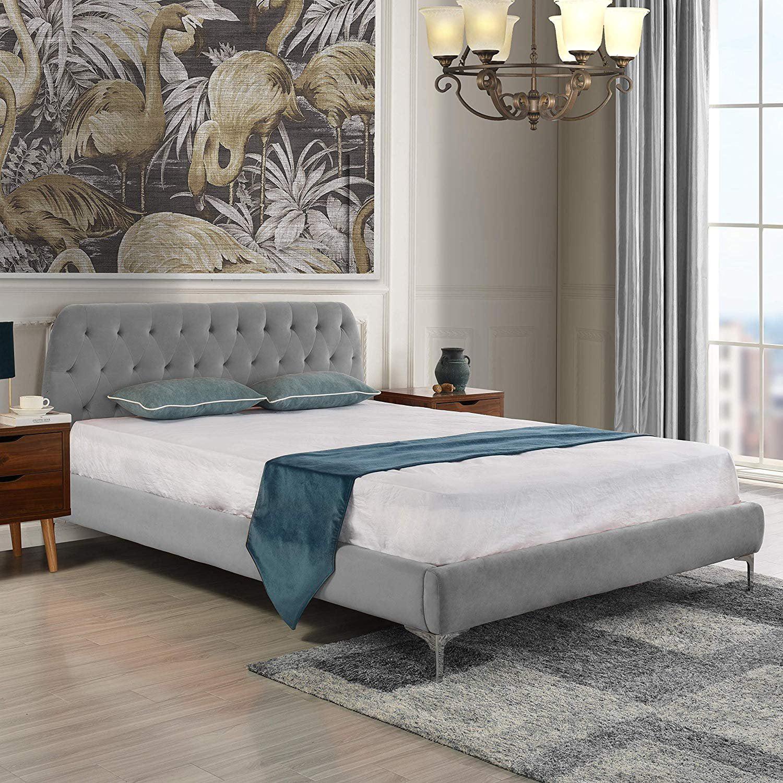 Mid Century Modern Elegant Velvet Bed Frame Full Dark Grey Walmart Com Walmart Com