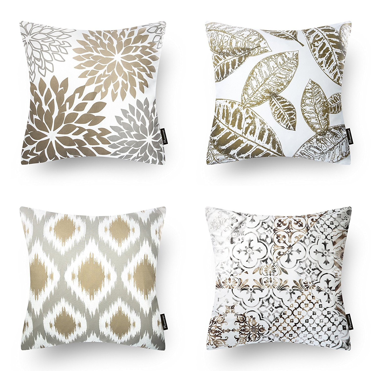 set of 4 Phantoscope Throw pillow covers New Home Living Coffee Color Decorative Throw Pillow Case Cushion Covers Set of 4