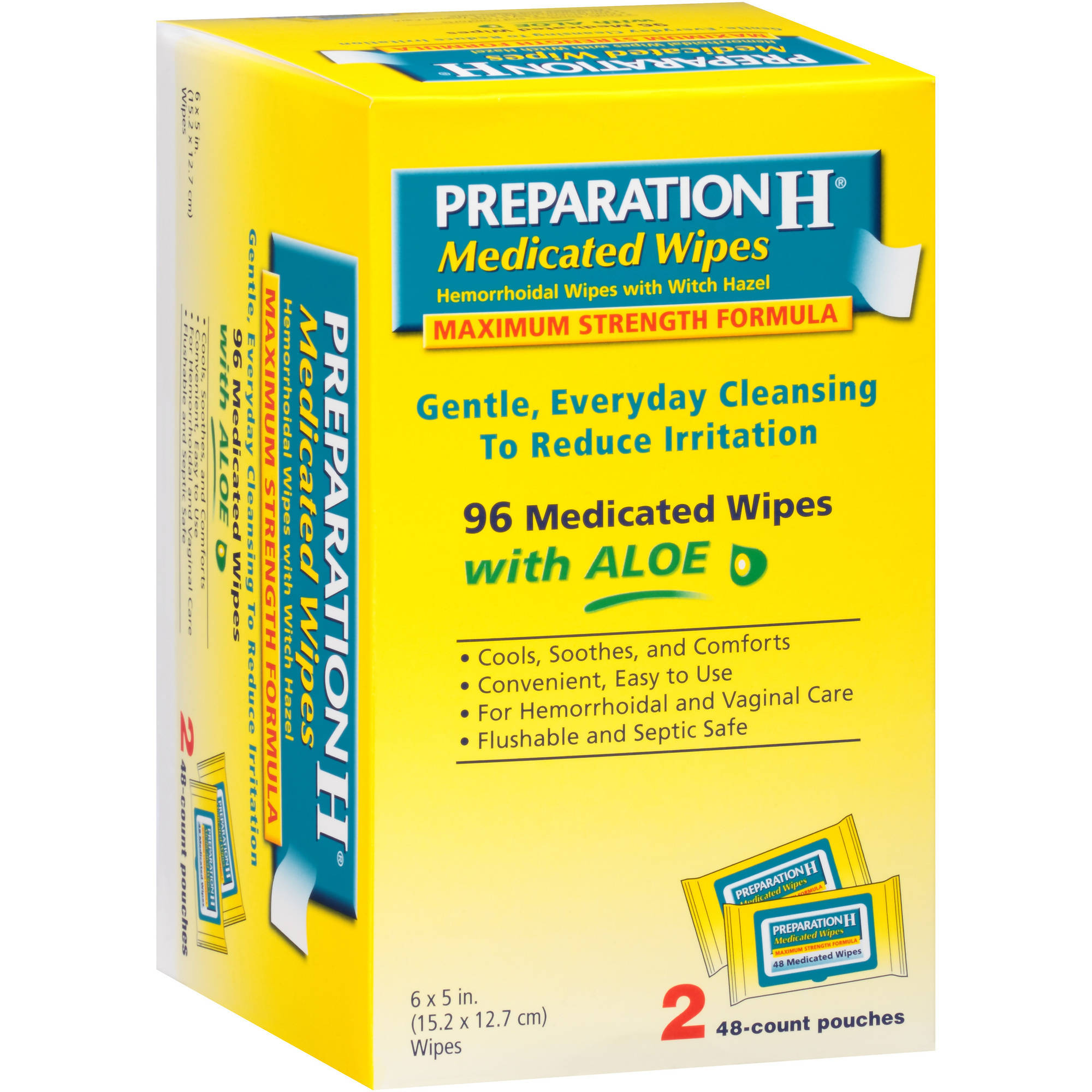 Preparation H Medicated Wipes Hemorrhoidal Wipes with Witch Hazel, 96 count