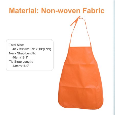 "Solid Apron 3pcs 18.9"" x 13"" Non-woven Fabric for Teenager Cooking Painting Craft, Orange"