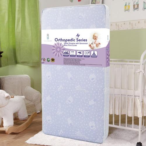 LA Baby Safari Dreams Crib Mattress with Savannah Animal Blue Print Cover
