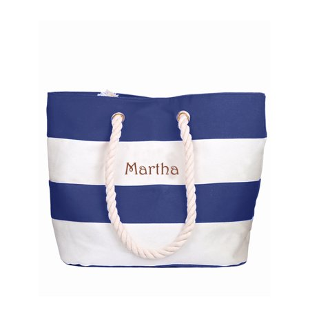 Personalized Large Blue Canvas Beach Tote Bag w/Laser Engraved Name](Custom Tote Bags)