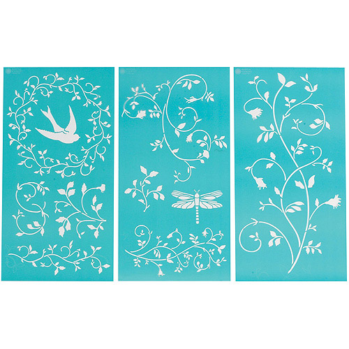 "Martha Stewart Large Stencils 3 Sheets/pkg, Tendrils 8-3/4""x16-3/4"", 10 Designs"