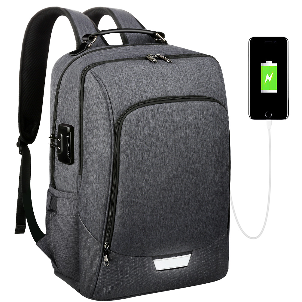 Anti-Theft Laptop Backpack Rucksack Travel Bag With USB Charging Port Coded Lock