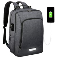 Vbiger 17 Inch Anti-Theft Laptop Backpack with Security Coded Lock and USB Charging Port, Gray
