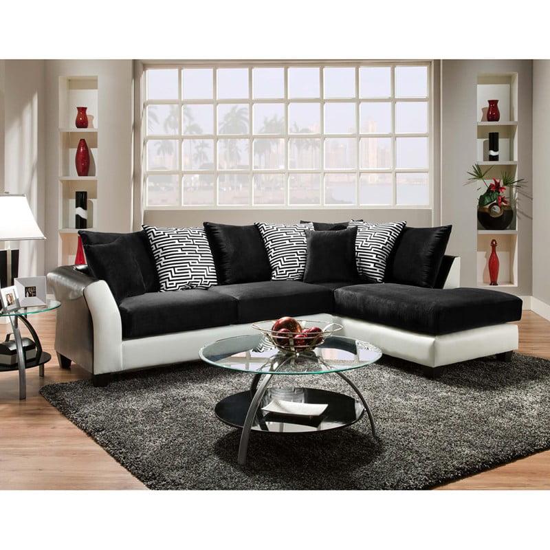 Flash Furniture RS-4174-02SEC-GG 2Pcs Black Velvet Sectional Sofa