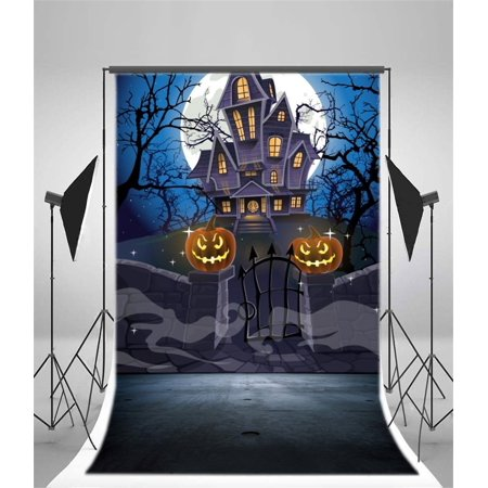 Haunted Halloween Portraits (HelloDecor Polyester Fabric 5x7ft Halloween Backdrop for Kids Haunted Castle Pumpkin Laterns Enchanted Forests Children Portraits Video Studio)
