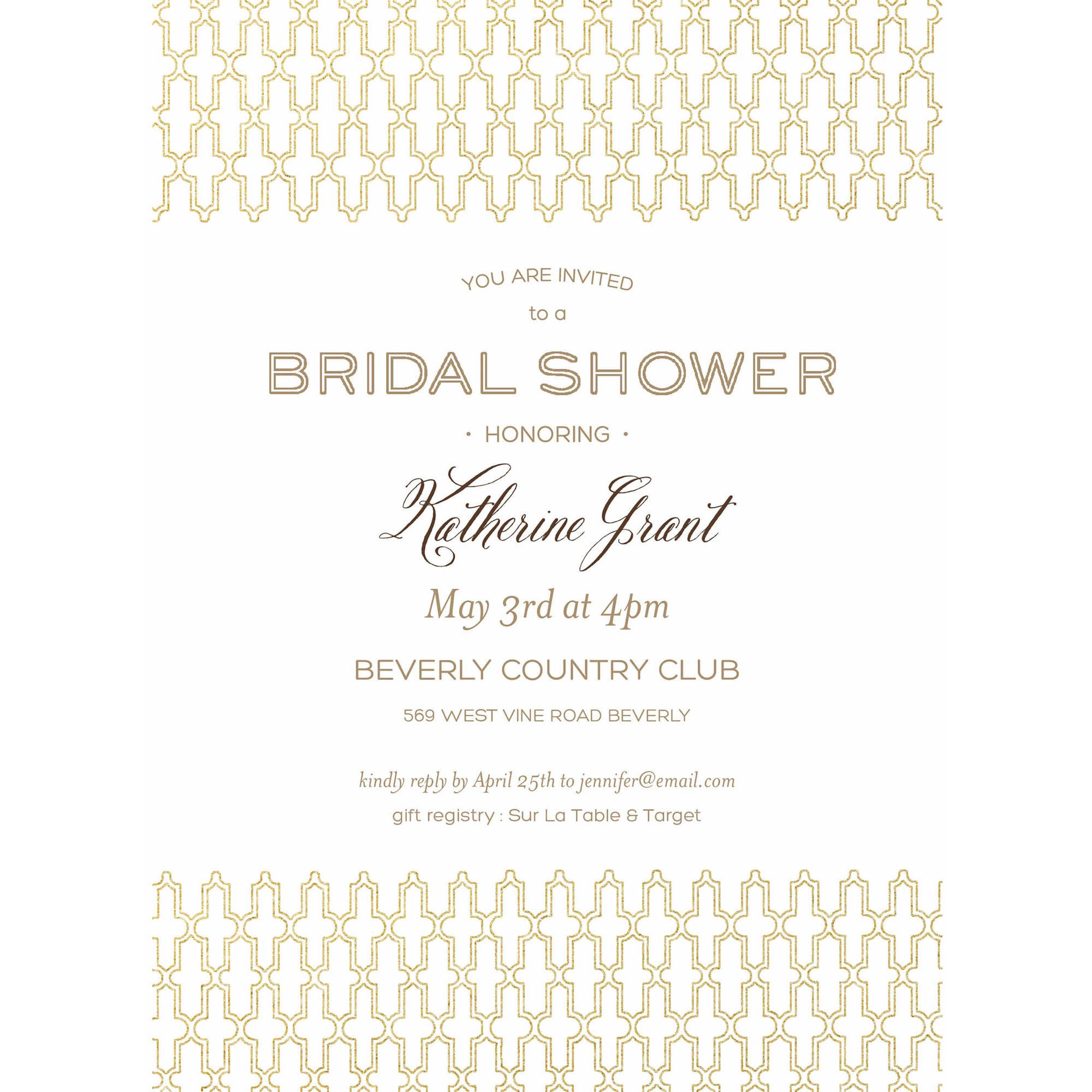 Loving Lattice Standard Bridal Shower Invitation