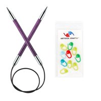 Knitter's Pride Bundle: Royale Circular 24-inch (60cm) Knitting Needles with 10 Artsiga Crafts Stitch Markers