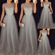 HOT Women Formal Long Lace Dress Prom Evening Party Cocktail Bridesmaid Wedding Gown