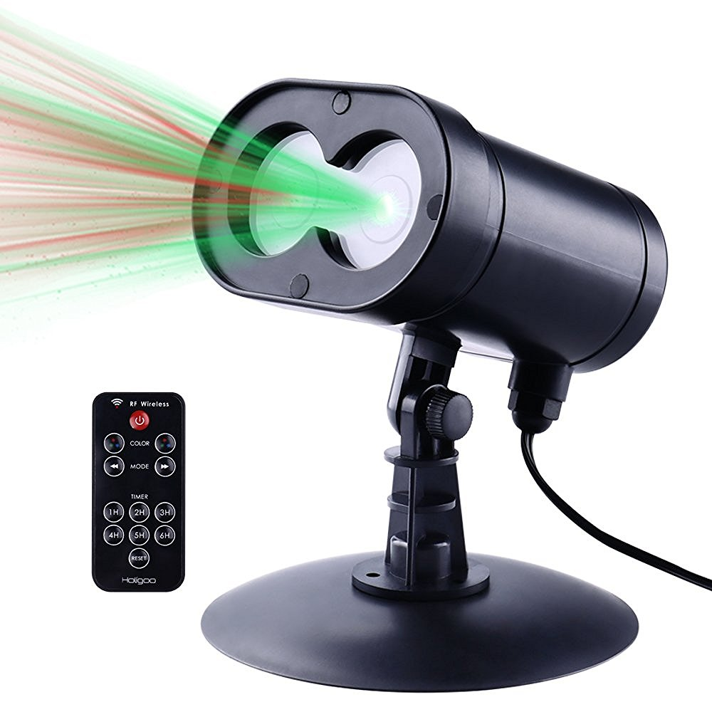Alien Wireless Control Laser Christmas Lights, Red & Green Star Projector