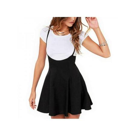 Ropalia Women Pleated High Waist Plain Skater Adjustable Strap Short Mini Skirt - Short Wool Skirt