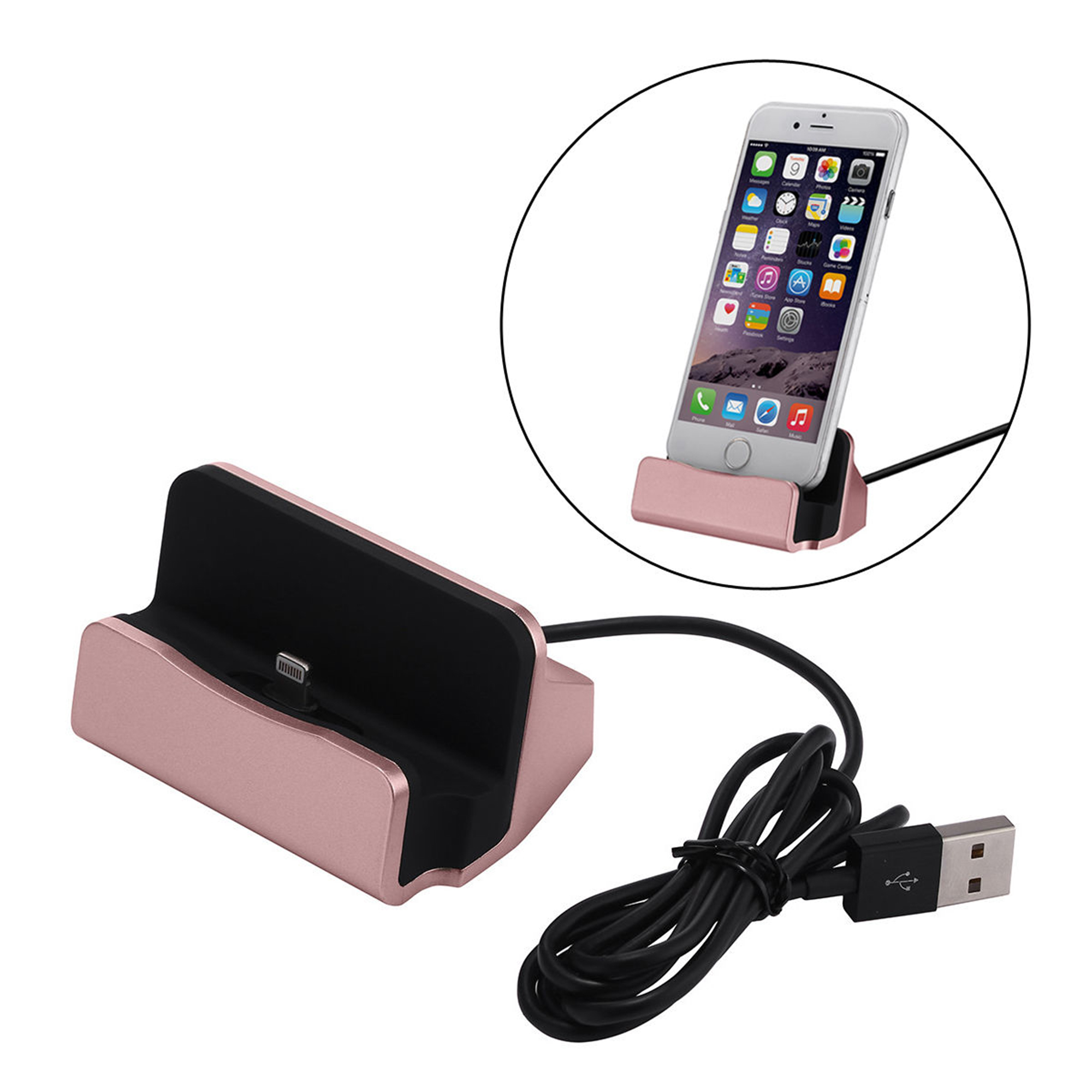 Desktop Charger Charging Dock Station Cradle for iPhone 5 6 6s 7 Plus Mobile Cellphone Rose Gold by