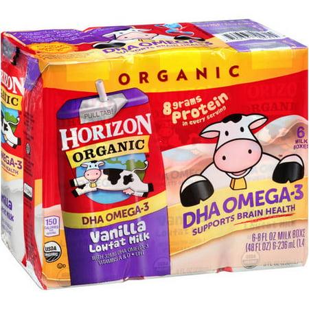 Horizon Organic Omega 3 Vanilla Lowfat Milk  8 Fl Oz  6 Ct