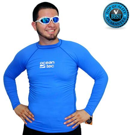 1d96dabba4 Ocean Tec - Swim Mens Rash Guard Rashguards Shirt Surf Long Sleeve Lycra  Protective Blue UV - Walmart.com