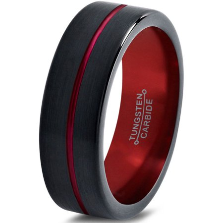 Tungsten Wedding Band Ring 4mm for Men Women Black Red Center Line Flat Pipe Cut Brushed Polished Lifetime (Center Cut Design Band)