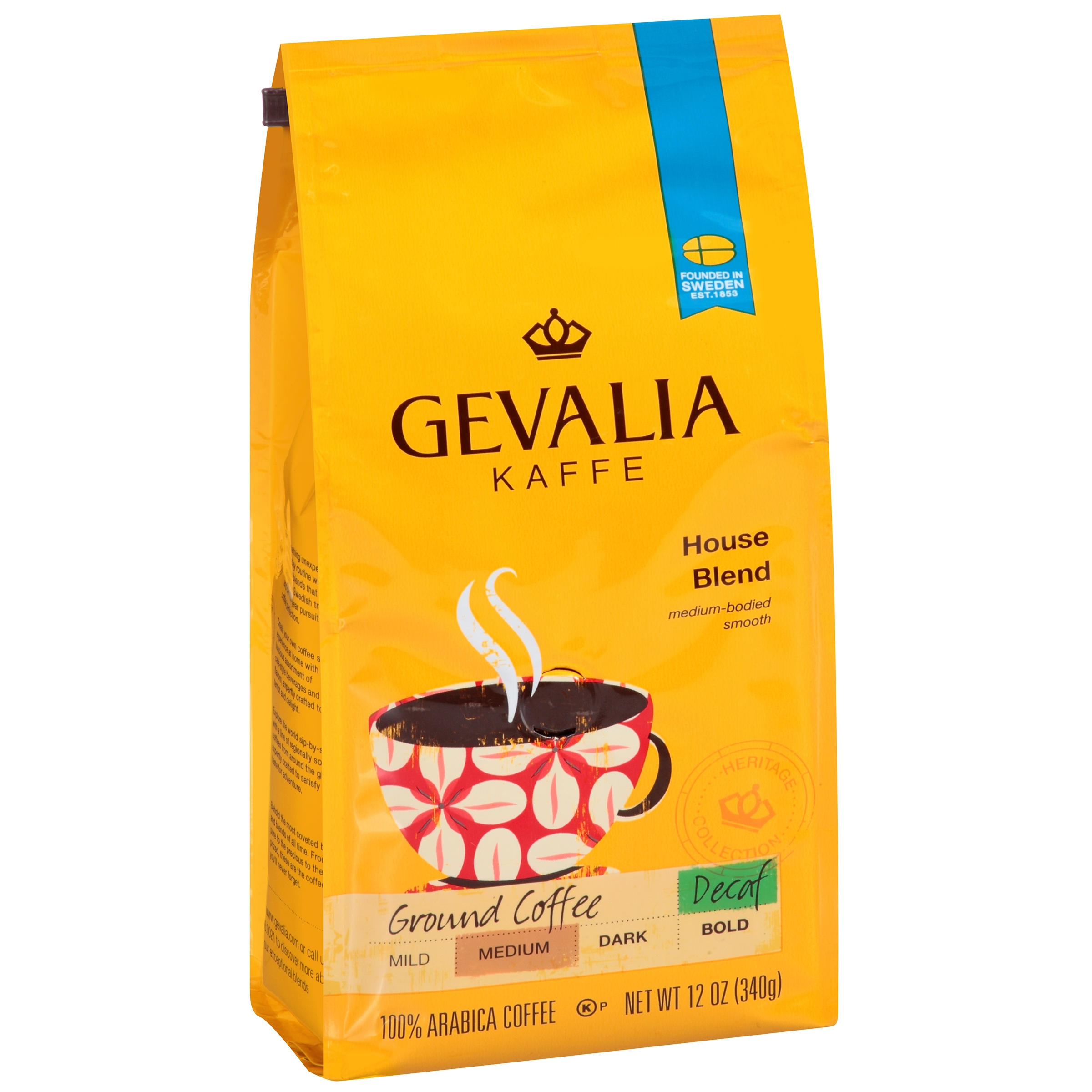Gevalia Kaffe House Blend Medium Roast Decaf Ground Coffee, 12 OZ (340g)
