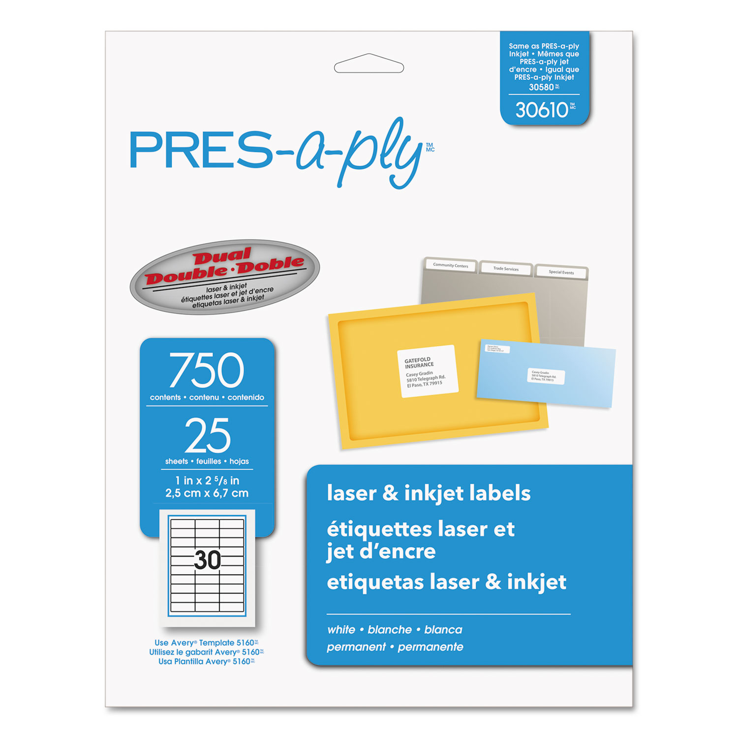 """PRES-a-ply  Labels for Laser and Inkjet Printers, 1"""" x 2-5/8"""" labels, 8-1/2"""" x 11"""" sheets, White, Permanent, 30-up, 25-sheets, 750/PK"""